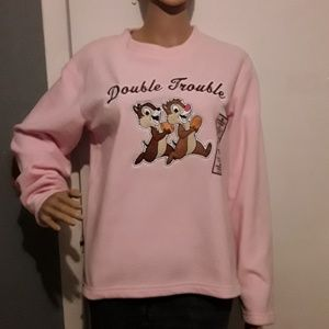 NWT- Disney pink fleece top with embroidered front